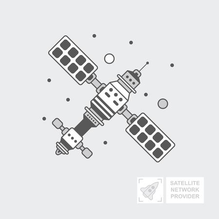 GPS satellite pour la navigation. navire est en orbite du sol pour la transmission du signal de télévision. Technologie sans fil Réseau mondial mondial, Web. Icône de vecteur plat, illustration Banque d'images - 88961192