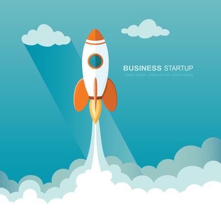 宇宙にロケットを発射します。ビジネスのスタートアップ テンプレートのイラスト。 フラットなデザイン モダンなベクトル イラスト概念新しいプ