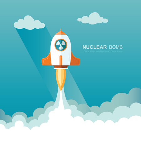 Nuclear bomb. missile launched by an attack from another country. War of action by neutron weapons. Flat vector illustration Illustration