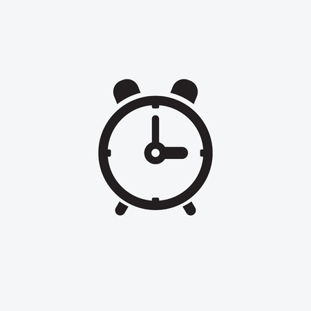 Time icon on the alarm clock. Black and white pictogram for web design. Vector flat illustrations