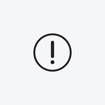 Icon graphic drawing carefully danger, Warning, exclamation mark. Black and white pictogram for web design. Vector flat illustrations, logo