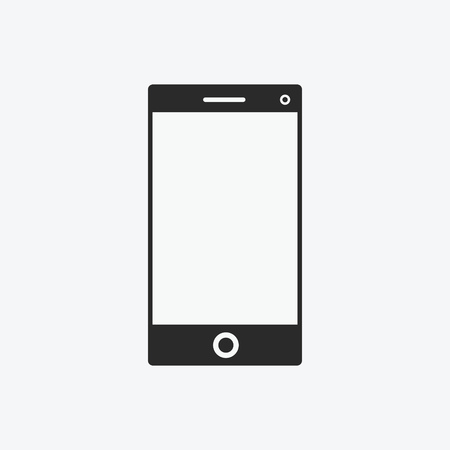 Icon graphical communicator, smartphone. Black and white pictogram for web design. Vector flat illustrations, logo