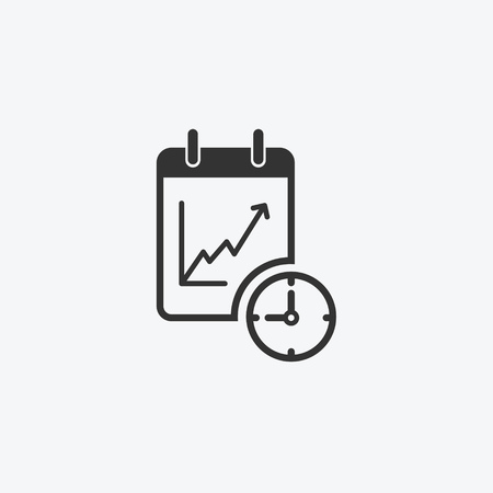 Icon graphic growth chart, notepad. Black and white pictogram for web design. Vector flat illustrations, logo