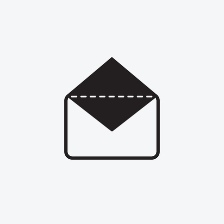 Icon graphic envelope. Black and white pictogram for web design. Vector flat illustrations, logo Stok Fotoğraf - 90140459