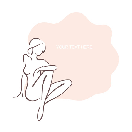 Naked girl in sexual poses. Nude female. Nudist in nature. beauty and fashion. Vector illustration, the form for the text. Flyer, banner, poster for design