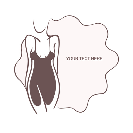 Sexy girl in a refined intimate pose. Fashion and beauty. Vectorgraphic illustration, place for text, Flyer, banner icon for design