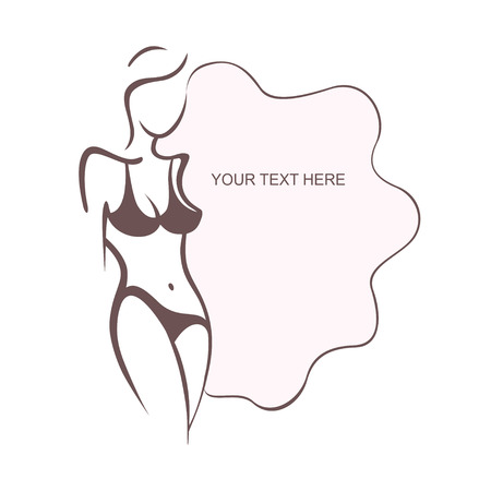 Beautiful sexy girl in bikini. Beach swimsuit, intimate underwear, bra, panties. Fashion and beauty of women. Vector illustration, the form for the text. Flyer, banner, poster for design Vectores