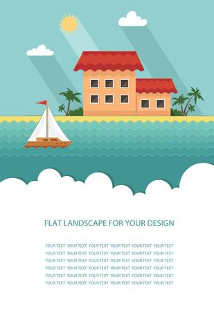 A house near the sea brochure design concept. Illustration
