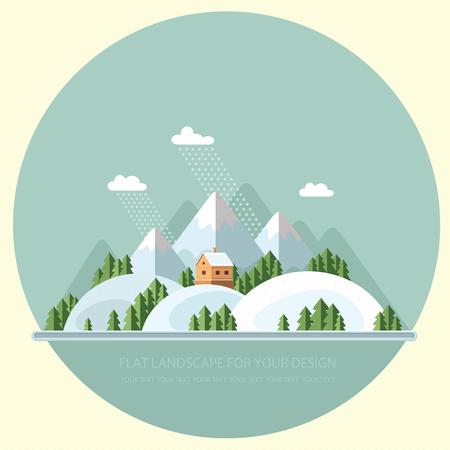 Winter landscape of nature illustration. Illustration