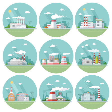 Collection industrial architectural urban landscapes.