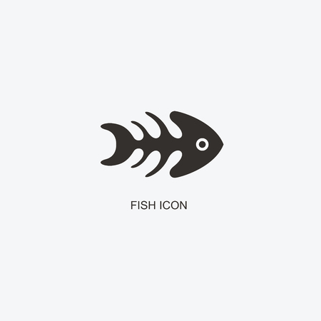 Fish and its skeleton pattern for design. Icon of seafood restaurant. Illustration of graphic flat style Illustration