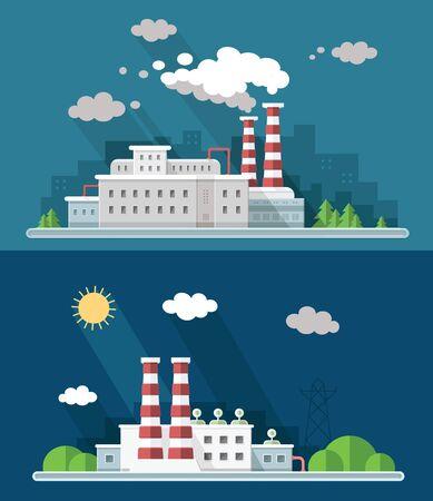 Définir des icônes de vecteur usine de pollution de vecteur numérique avec graphique dessiné d'art simple ligne dessinée, présentation avec des éléments d'usine, de fumée, de l'environnement et de l'énergie autour de modèle promo, illustration de style plat Banque d'images - 90924254