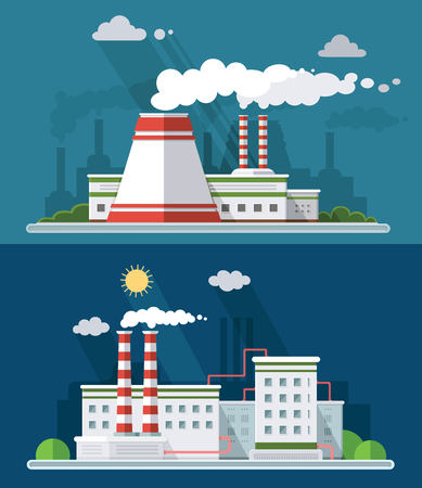 Set vector blue factory pollution icons drawn simple line art info graphic, presentation with Nuclear Power Plant, smoke, environment and energy elements around promo template, flat style illustration
