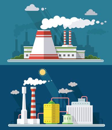 Stel vector blauwe fabrieksvervuiling pictogrammen getrokken eenvoudige lijntekeningen info afbeelding, presentatie met kerncentrale, rook, milieu en energie-elementen rond promosjabloon, vlakke stijl illustratie Vector Illustratie