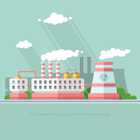 Nuclear power plant and factory. Atom, radiation energy industrial concept, station background. Environmental theme. Flat Vector background illustration Illustration