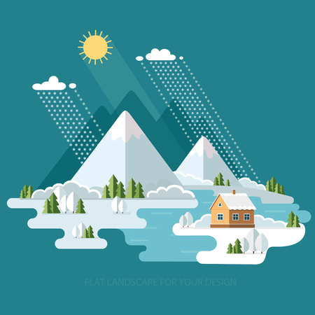 Winter landscape mountains snow-capped hills. flat vector illustration.