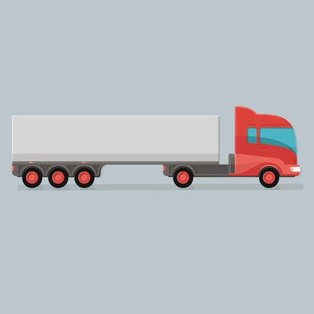 Modern Cargo Truck Trailer Template Isolated On Grey Background