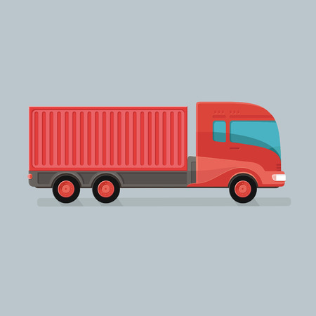 Modern Cargo Truck Trailer easy to edit vector template isolated on grey background. Delivery of goods by a large car. Flat style icon illustration design. Illustration