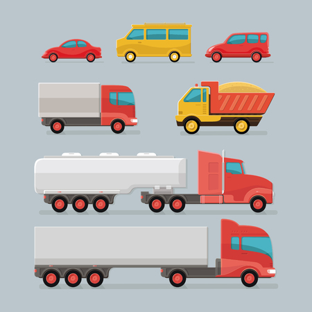 Car icons. city transport. Sedan, van, cargo truck, off-road, bus, Tipper, fuel carrier. Set of urban public and freight transport. Flat style icon illustration design.