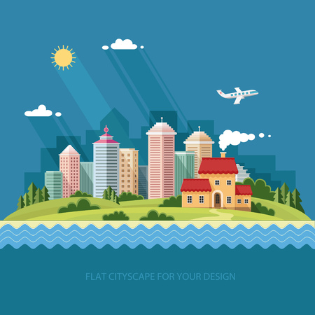 Country house on the background of the city and the river. Summer, spring landscape. Flat design style vector illustration.