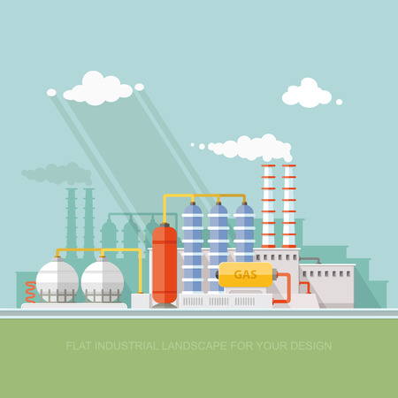 Plant for the extraction and processing of oil and gas. storage in tanks and barrels. Vector flat style Ilustração