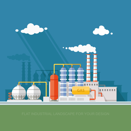 Plant for the extraction and processing of oil and gas in flat style illustration.
