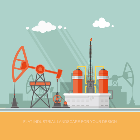 Ecology Concept - Oil industry vector illustration, Infographics. Processing of gasoline fuel. icons for your design.
