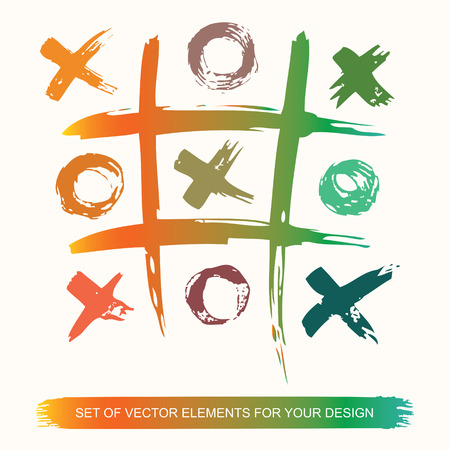 Tic Tac Toe. Painted grunge ink clots brush texture on white background. Colored belly labels. Background handmade design elements. Ilustração