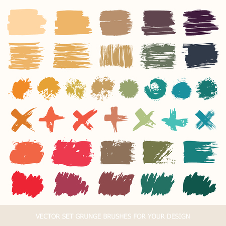 Set of different round black Ink grunge brushes. labels, paint texture. Collection background handmade design elements. Illustration