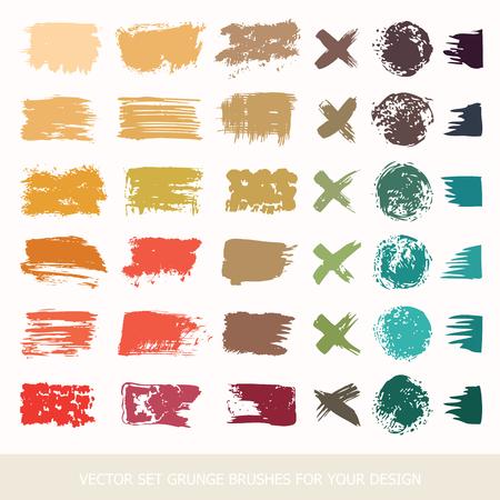 Painted grunge stripes set. Black labels, paint texture. Brush strokes vector. Colored belly labels. Background handmade design elements. Illusztráció