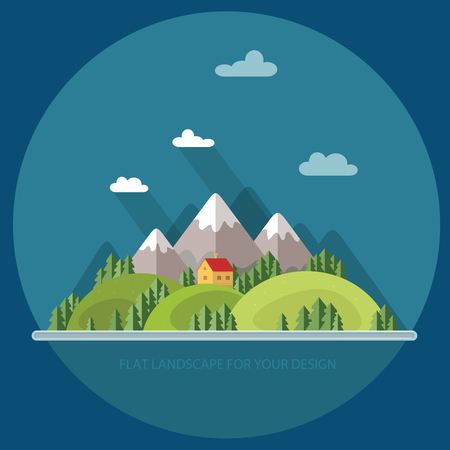 Landscape, houses in the mountains among the trees. Flat style, vector illustrations.