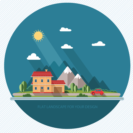 Summer landscape. Red car, vacation home on a background of mountains. Flat design style, vector illustration. Illustration