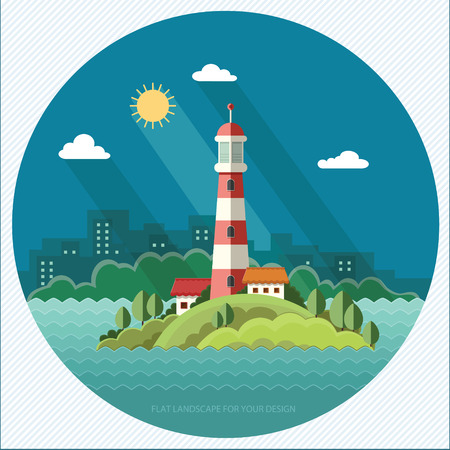 Summer landscape. The lighthouse on the background of the city. Flat design style, vector illustration.