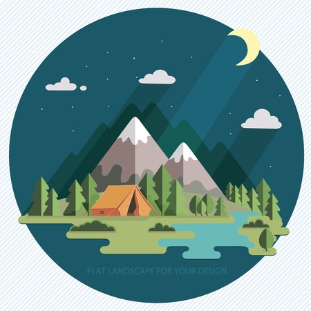 Summer landscape. night landscape in the mountains. Solitude in nature by the river. Weekend in the tent. Hiking and camping.
