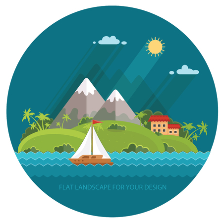 Nature - Color vector flat icon set and illustration summer time: village, mountain, sun, clouds, trees nature and more.