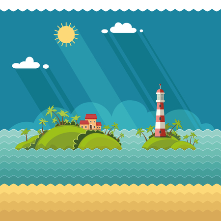 Nature - Summer vacation, tropical island in the ocean. Lighthouse on the coastal line. Flat style, vector illustrations.