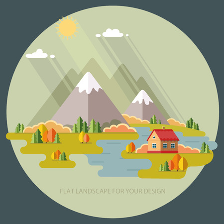 Autumn landscape. Vacation home on a background of mountains. Vector illustration in flat design style.