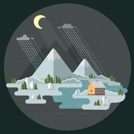 Night winter landscape mountains snow-capped hills. Flat style, vector illustration.