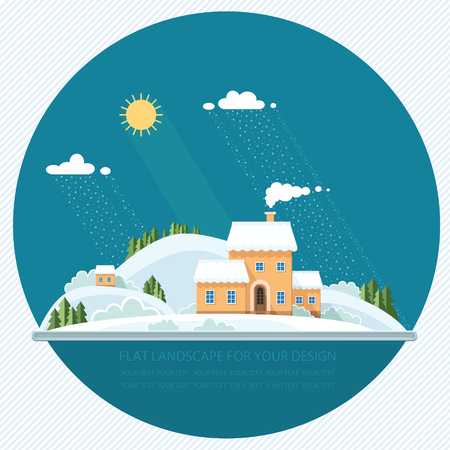 Winter landscape mountains snow-capped hills. Flat style, vector illustration.