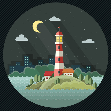 Night landscape. The lighthouse on the background of the city. Flat design style, vector illustration.