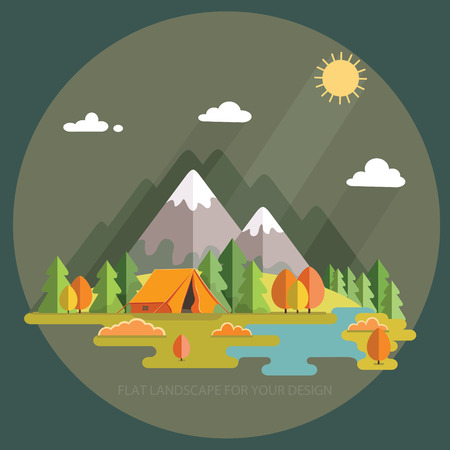Autumn landscape. Morning landscape in the mountains. Solitude in nature by the river. Weekend in the tent. Hiking and camping.