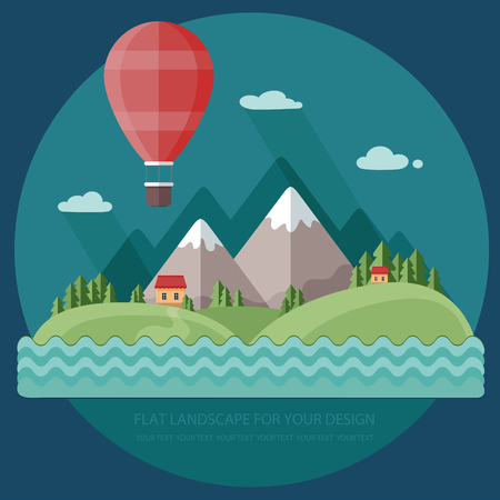 Traveling in a balloon. Spring, vacation home on a background of mountains. Flat design style, vector illustration.