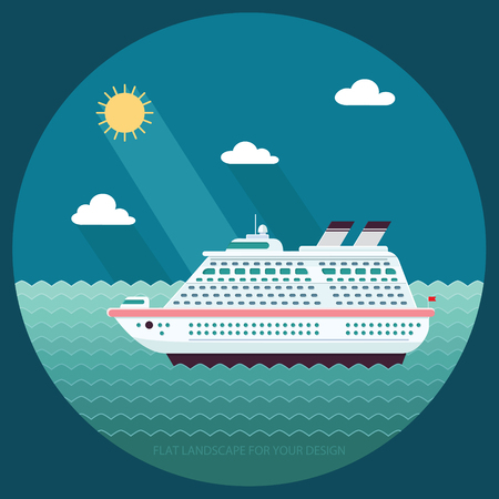 Ship in the ocean. Trip around the world. Flat design style, vector illustration.