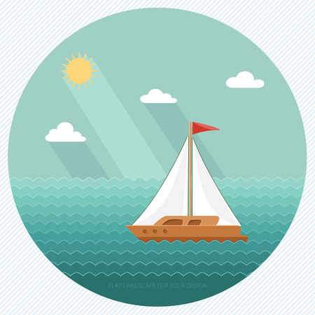 Sailboat on the background of the ocean, the sea. Yacht Club. Flat design style, vector illustration.