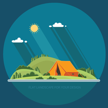 Summer landscape. Morning landscape in the mountains. Solitude in nature by the river. Weekend in the tent. Hiking and camping. Illustration