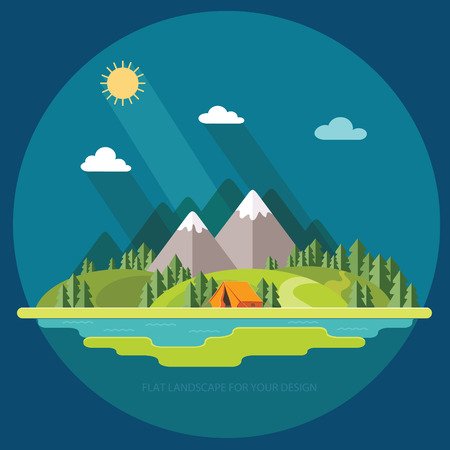 Paesaggio estivo Panorama di mattina in montagna. La solitudine nella natura vicino al fiume. Weekend nella tenda. Escursioni e campeggio. Archivio Fotografico - 90904345