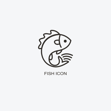 Fish icon template for design. Icon of seafood restaurant. Illustration of graphic, flat style.