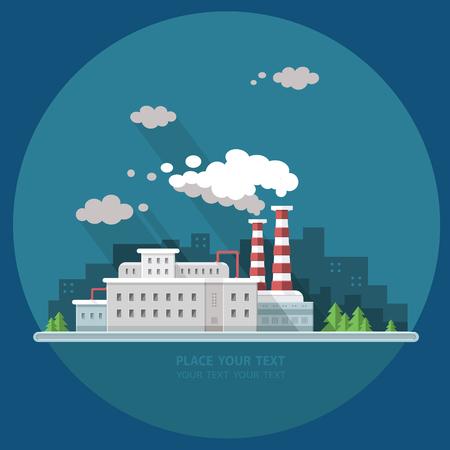 Ecology Concept - industry factory. Flat style vector illustration. Ilustracja