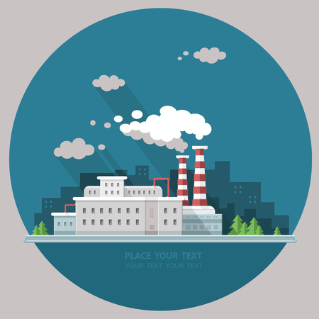 Ecology Concept - industry factory. Flat style vector illustration. Illustration