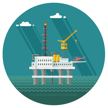 Ecology Concept - Oil production in the sea. industry vector illustration Infographics. Processing of gasoline fuel. icons for your design Illustration